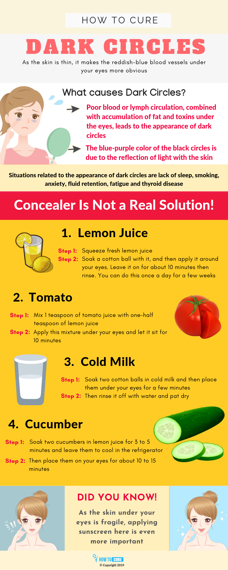 how to cure dark circles - infographic