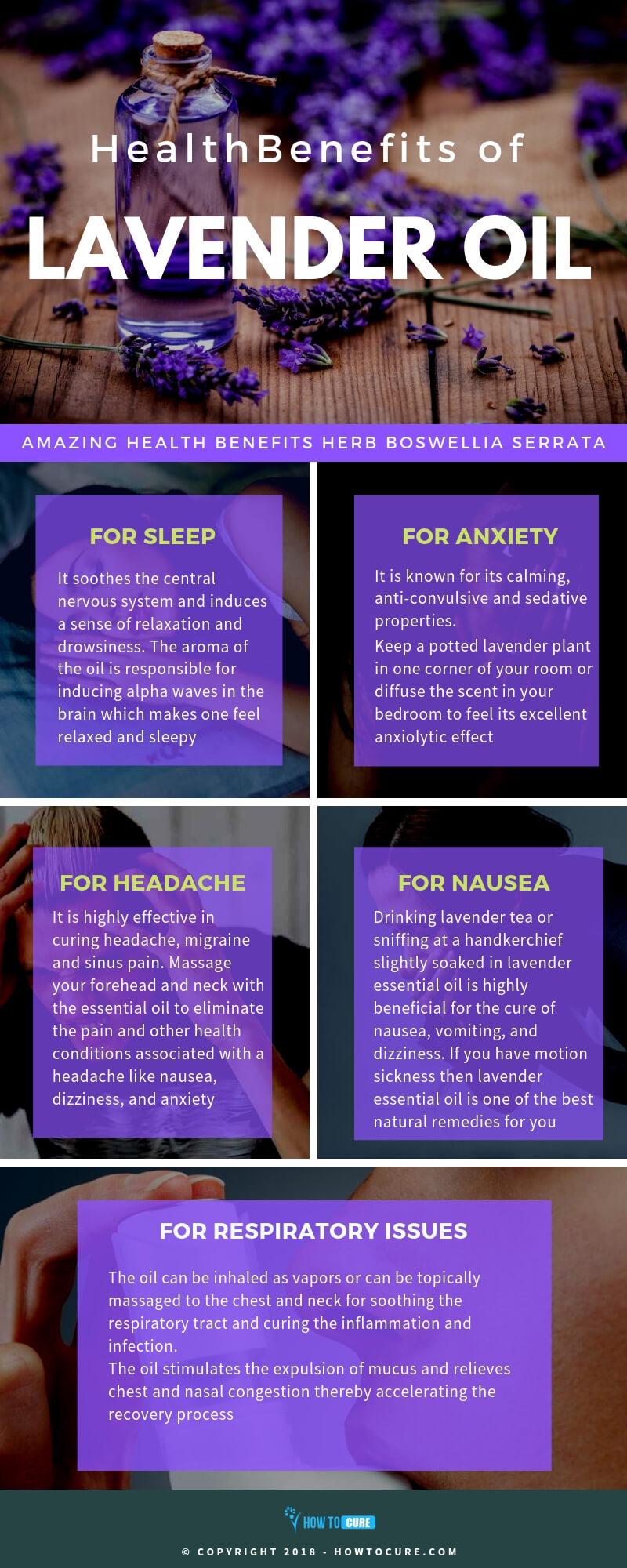 lavender oil benefits infographic