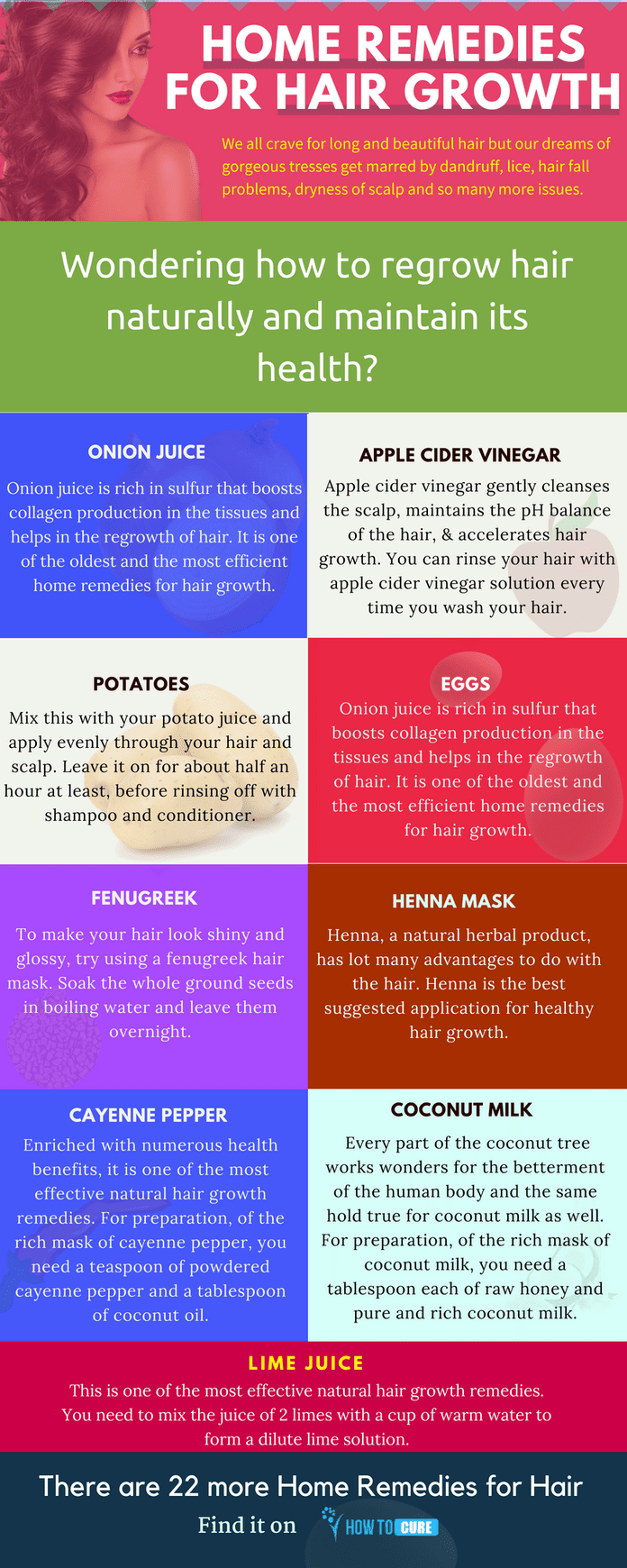 home remedies for hair growth and luster - infographic